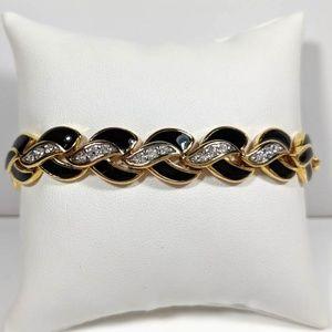 Black Enamel Rhinestone Bracelet